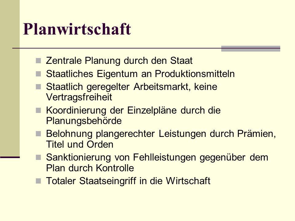 Planwirtschaft Zentrale Planung durch den Staat