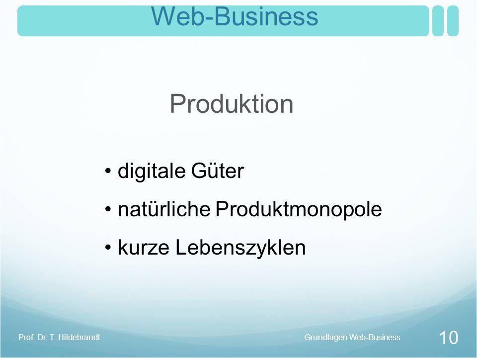 Web-Business Produktion digitale Güter natürliche Produktmonopole