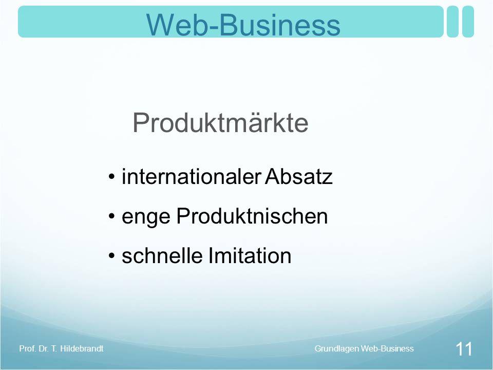 Web-Business Produktmärkte internationaler Absatz enge Produktnischen