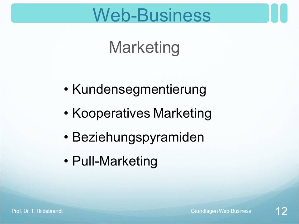 Web-Business Marketing Kundensegmentierung Kooperatives Marketing