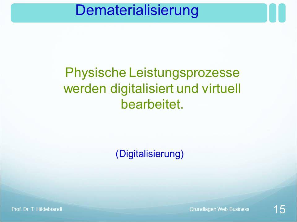 Dematerialisierung Physische Leistungsprozesse werden digitalisiert und virtuell bearbeitet. (Digitalisierung)