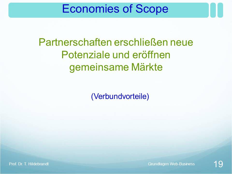 Economies of Scope Partnerschaften erschließen neue Potenziale und eröffnen gemeinsame Märkte. (Verbundvorteile)