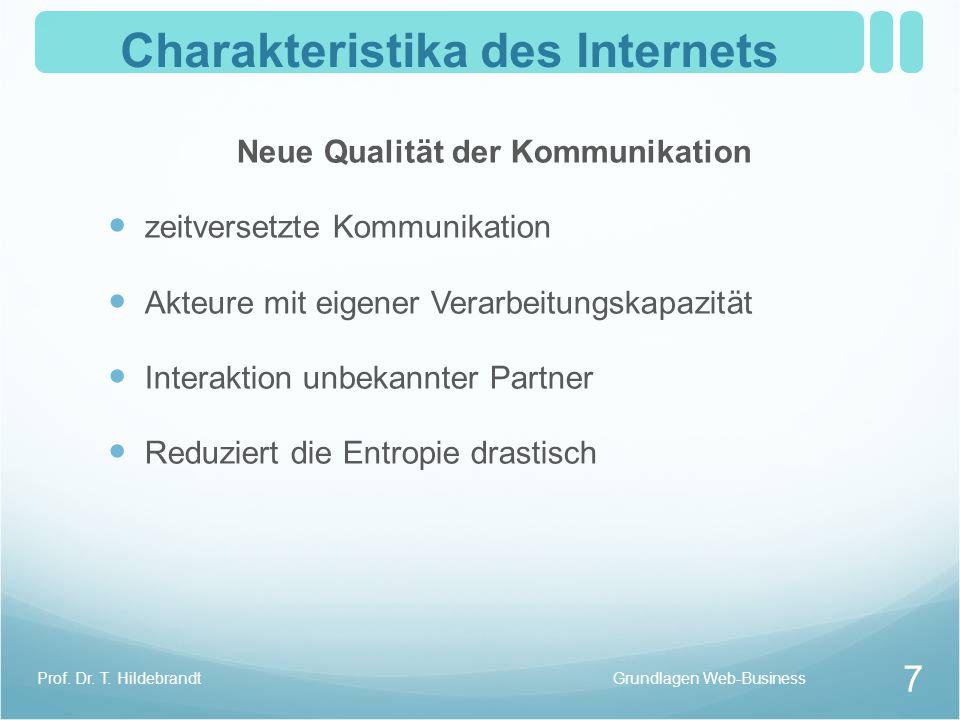 Charakteristika des Internets