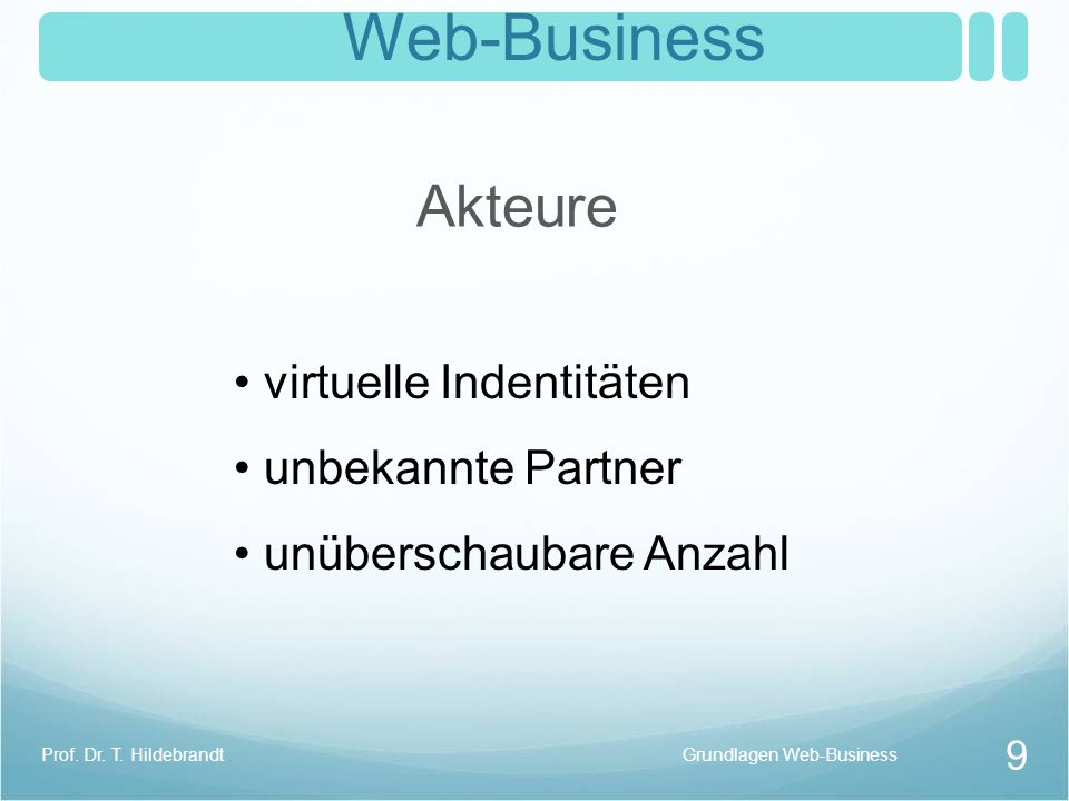 Web-Business Akteure virtuelle Indentitäten unbekannte Partner