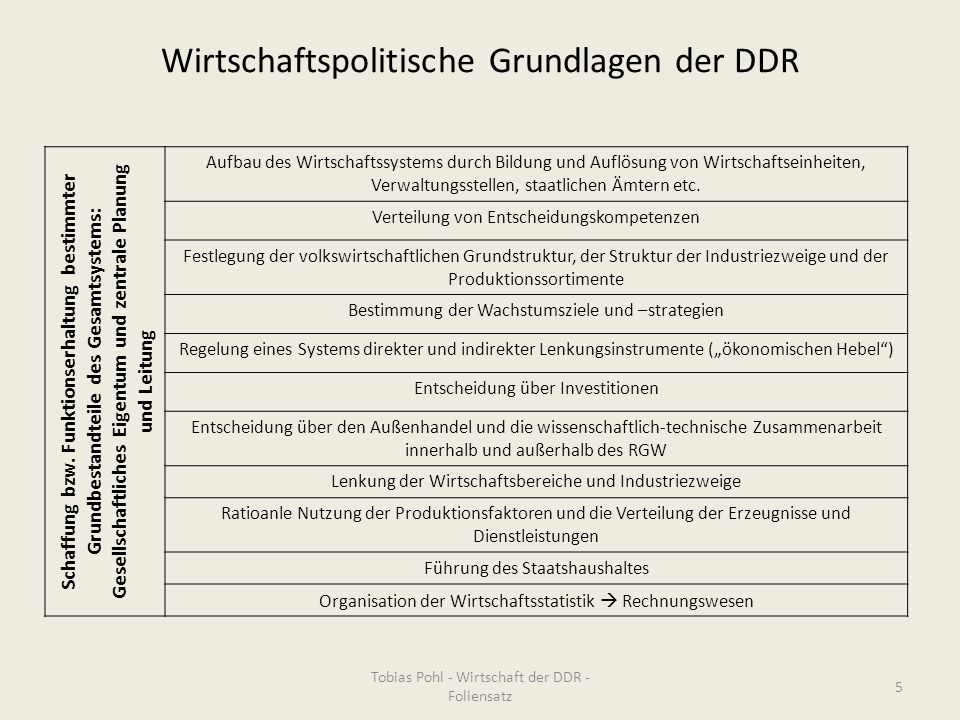 Wirtschaftspolitische Grundlagen der DDR