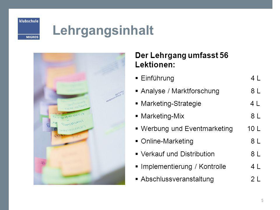 Lehrgangsinhalt Der Lehrgang umfasst 56 Lektionen: Einführung 4 L
