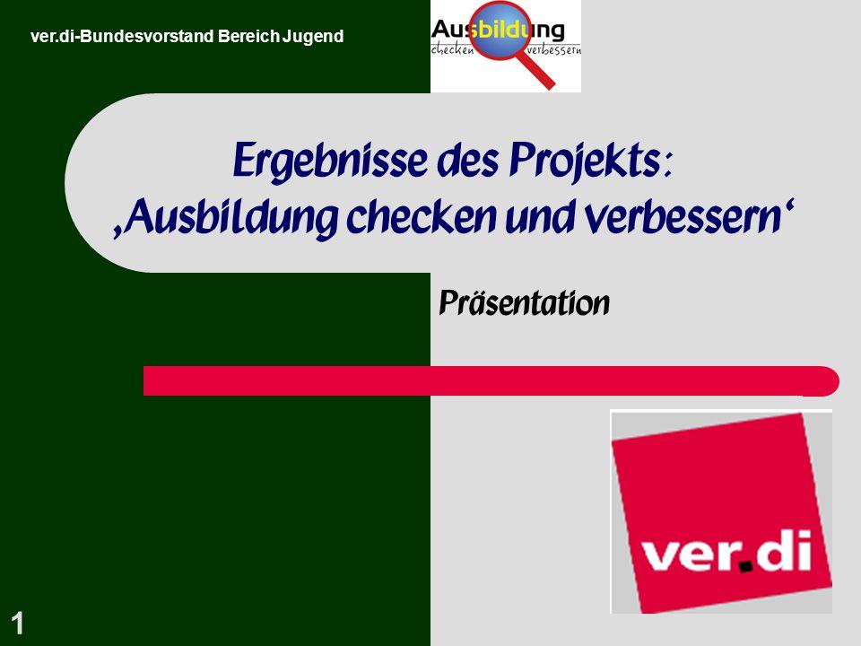 Ergebnisse des Projekts: 'Ausbildung checken und verbessern'