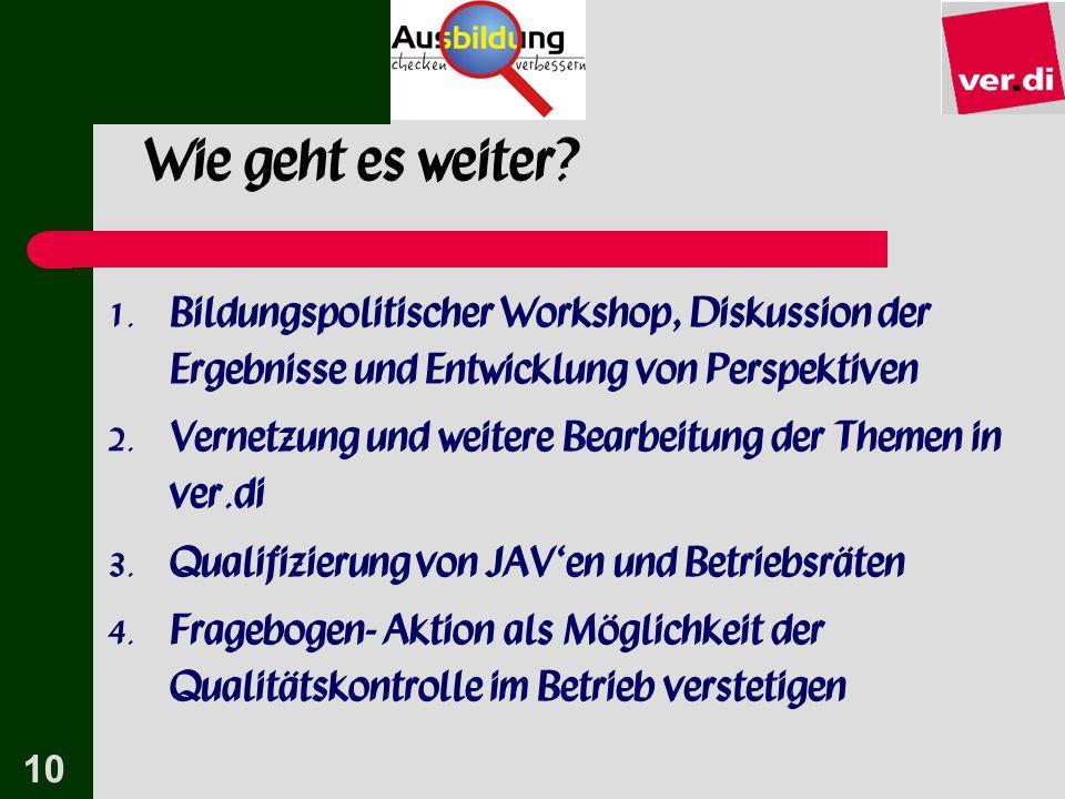 Wie geht es weiter Bildungspolitischer Workshop, Diskussion der Ergebnisse und Entwicklung von Perspektiven.