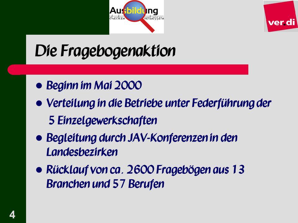 Die Fragebogenaktion Beginn im Mai 2000
