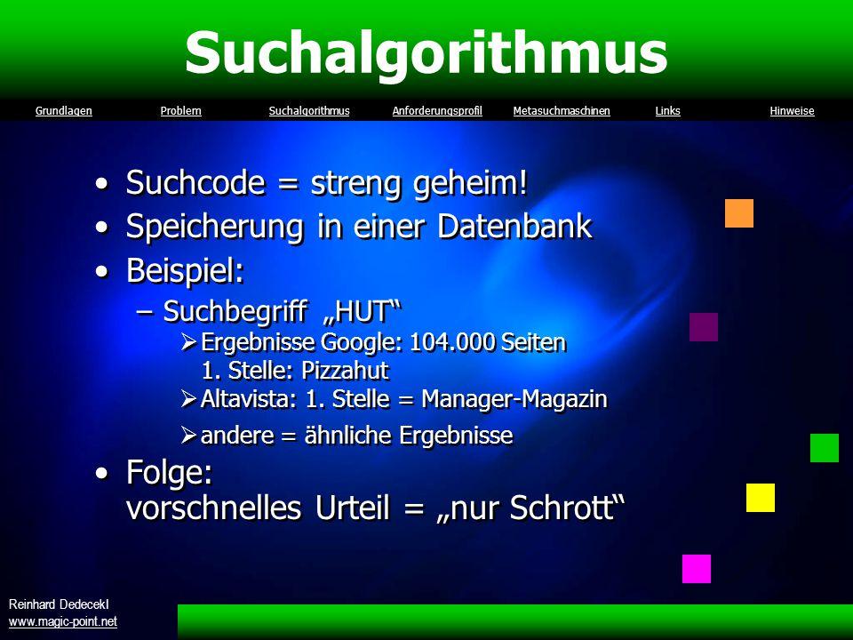Suchalgorithmus Suchcode = streng geheim!
