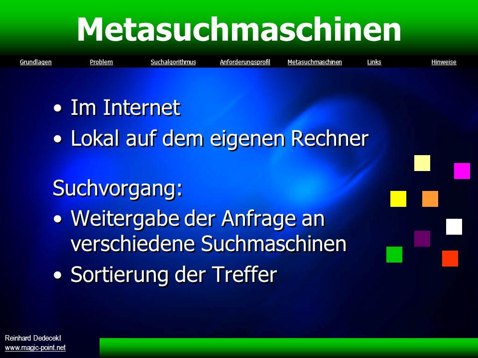 Metasuchmaschinen Im Internet Lokal auf dem eigenen Rechner