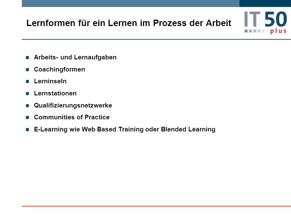 Lernformen für ein Lernen im Prozess der Arbeit