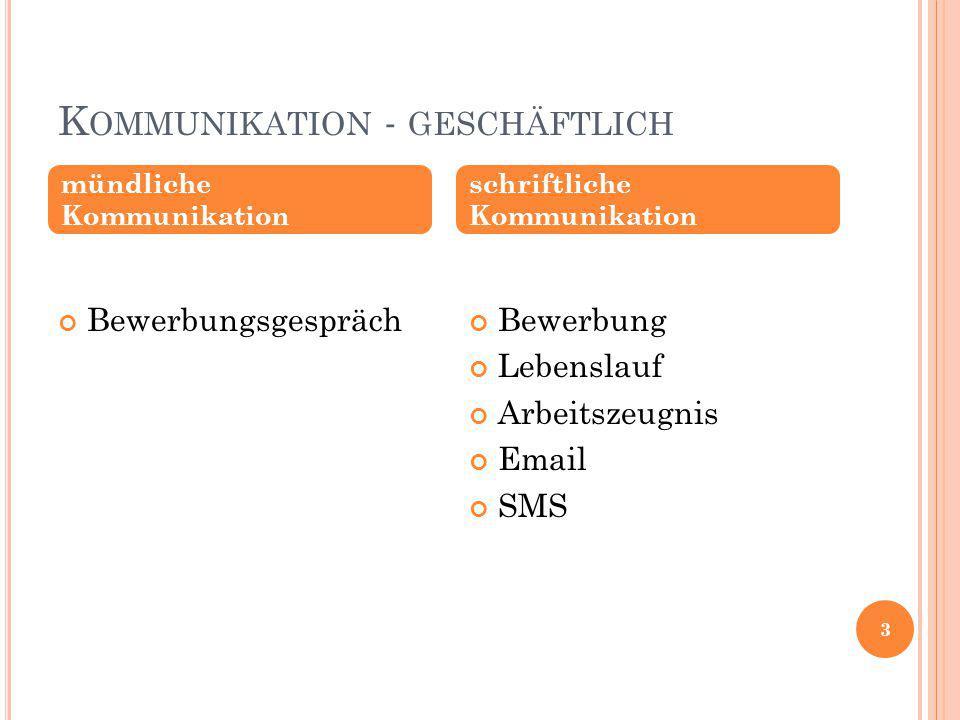 Kommunikation - geschäftlich