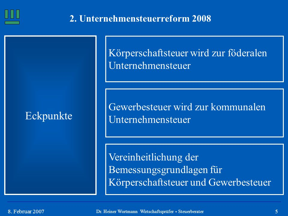 2. Unternehmensteuerreform 2008