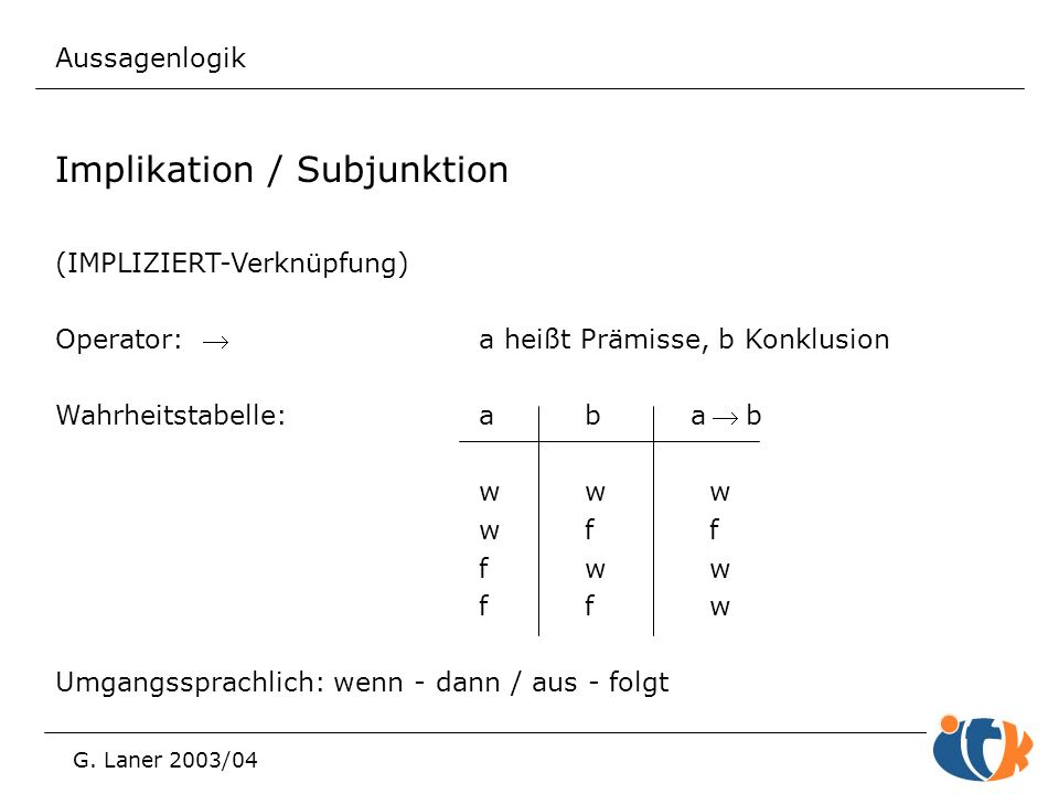 Implikation / Subjunktion
