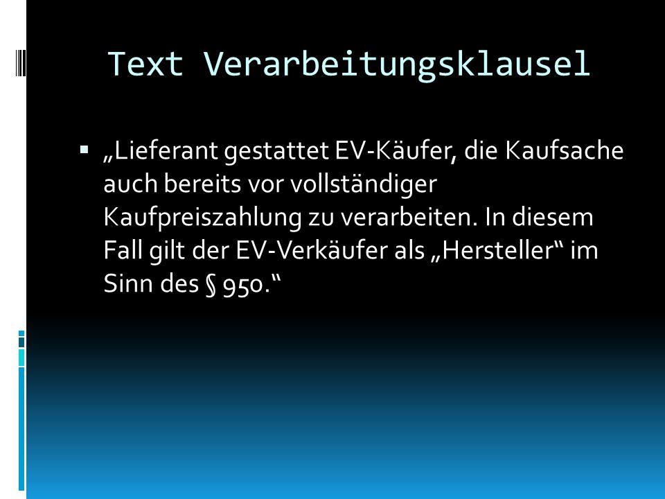 Text Verarbeitungsklausel