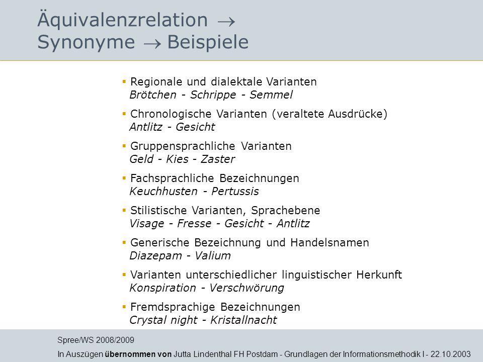 Äquivalenzrelation  Synonyme  Beispiele