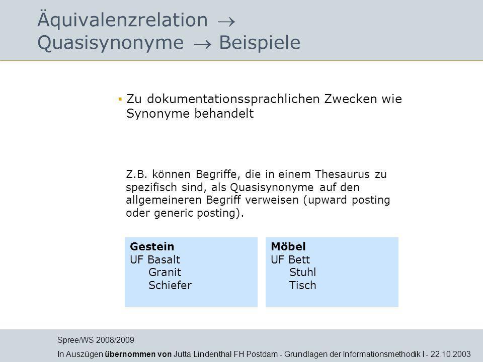 Äquivalenzrelation  Quasisynonyme  Beispiele