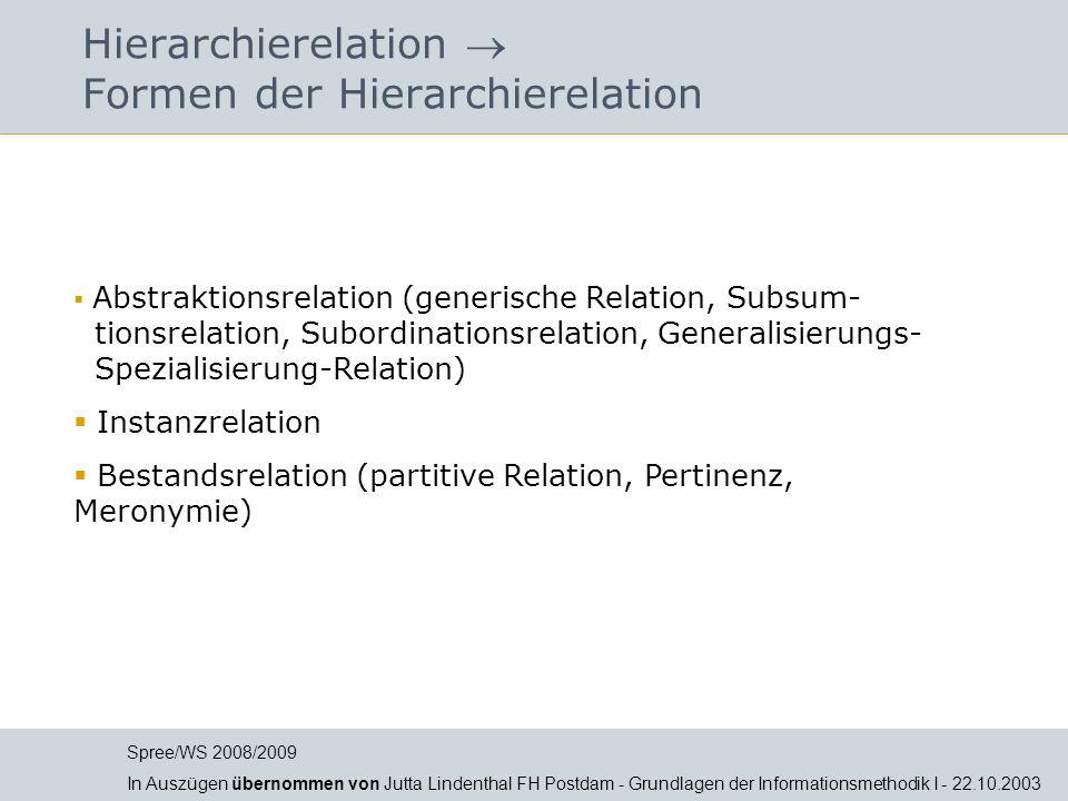 Hierarchierelation  Formen der Hierarchierelation