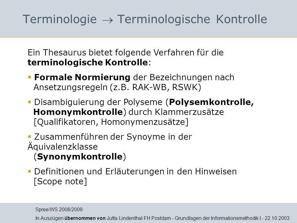 Terminologie  Terminologische Kontrolle