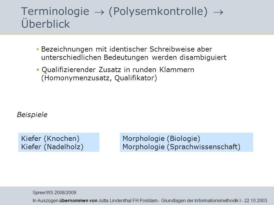 Terminologie  (Polysemkontrolle)  Überblick