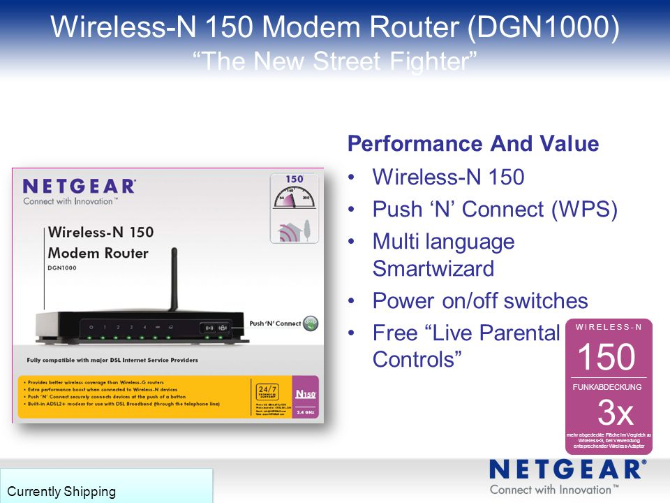 Wireless-N 150 Modem Router (DGN1000) The New Street Fighter