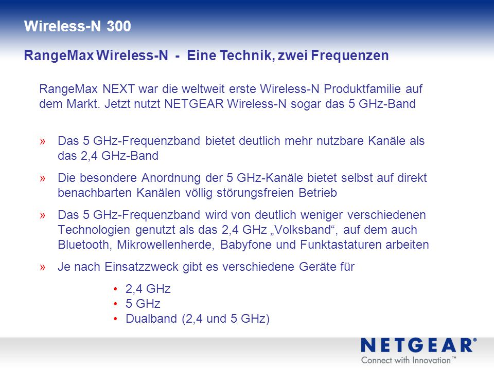 Wireless-N 300 RangeMax Wireless-N - Eine Technik, zwei Frequenzen