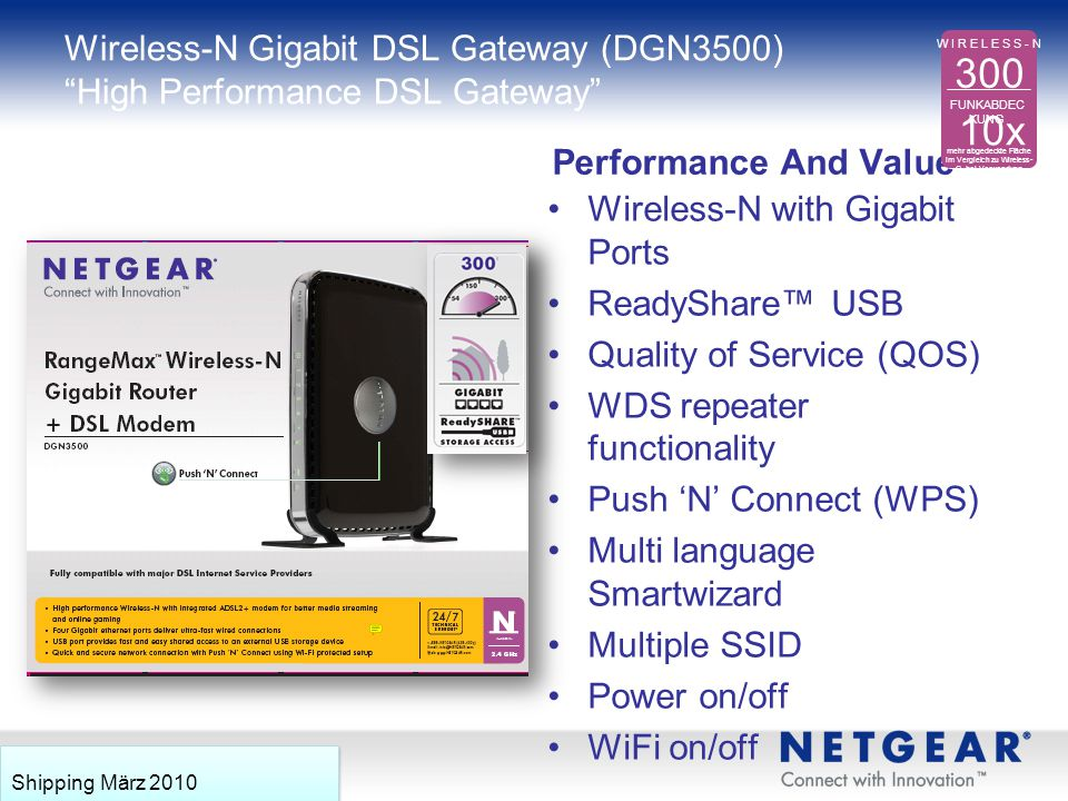 Wireless-N Gigabit DSL Gateway (DGN3500) High Performance DSL Gateway
