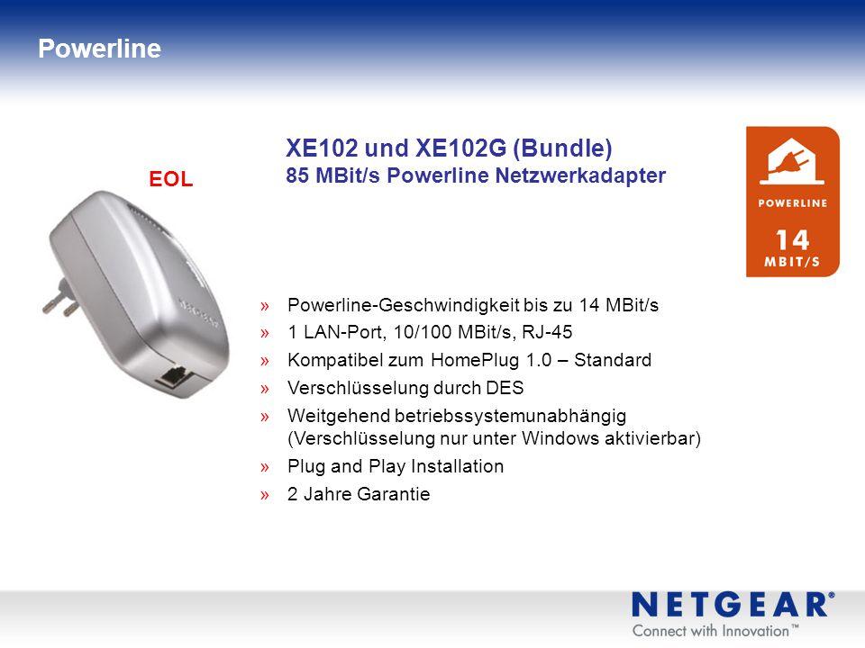 Powerline XE102 und XE102G (Bundle) 85 MBit/s Powerline Netzwerkadapter. EOL. Powerline-Geschwindigkeit bis zu 14 MBit/s.