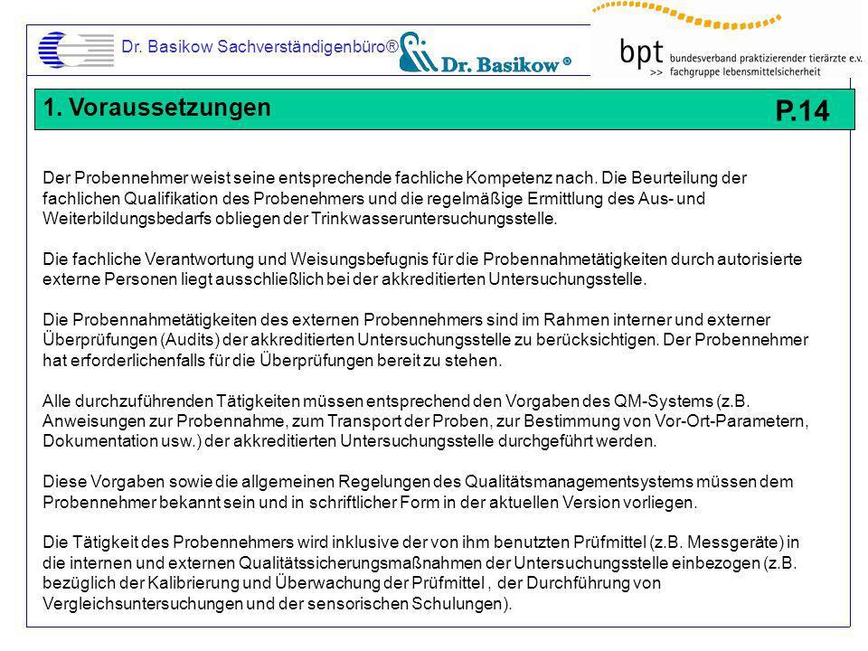 P.14 1. Voraussetzungen Dr. Basikow Sachverständigenbüro®