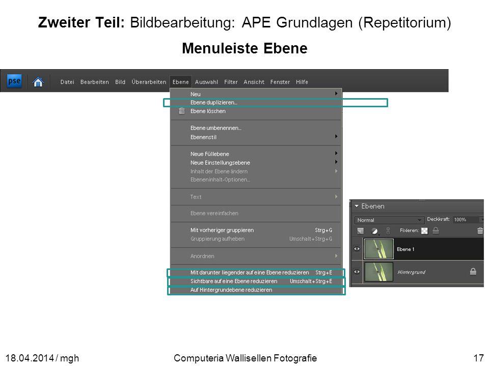 Zweiter Teil: Bildbearbeitung: APE Grundlagen (Repetitorium)