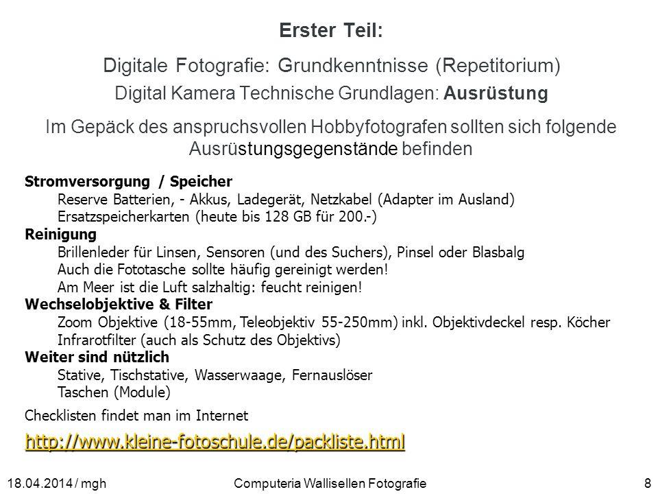 Digitale Fotografie: Grundkenntnisse (Repetitorium)