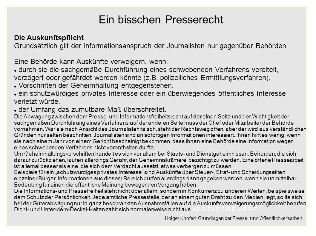 Ein bisschen Presserecht