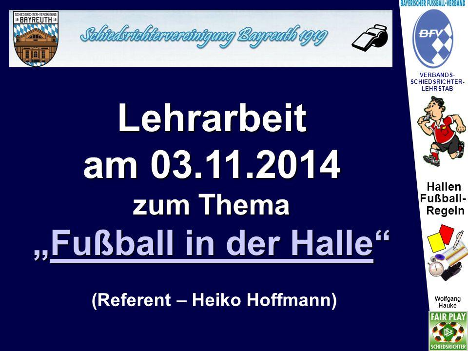 """Lehrarbeit am 03.11.2014 """"Fußball in der Halle zum Thema"""