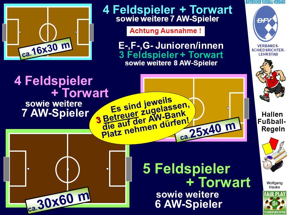 5 Feldspieler + Torwart 4 Feldspieler + Torwart