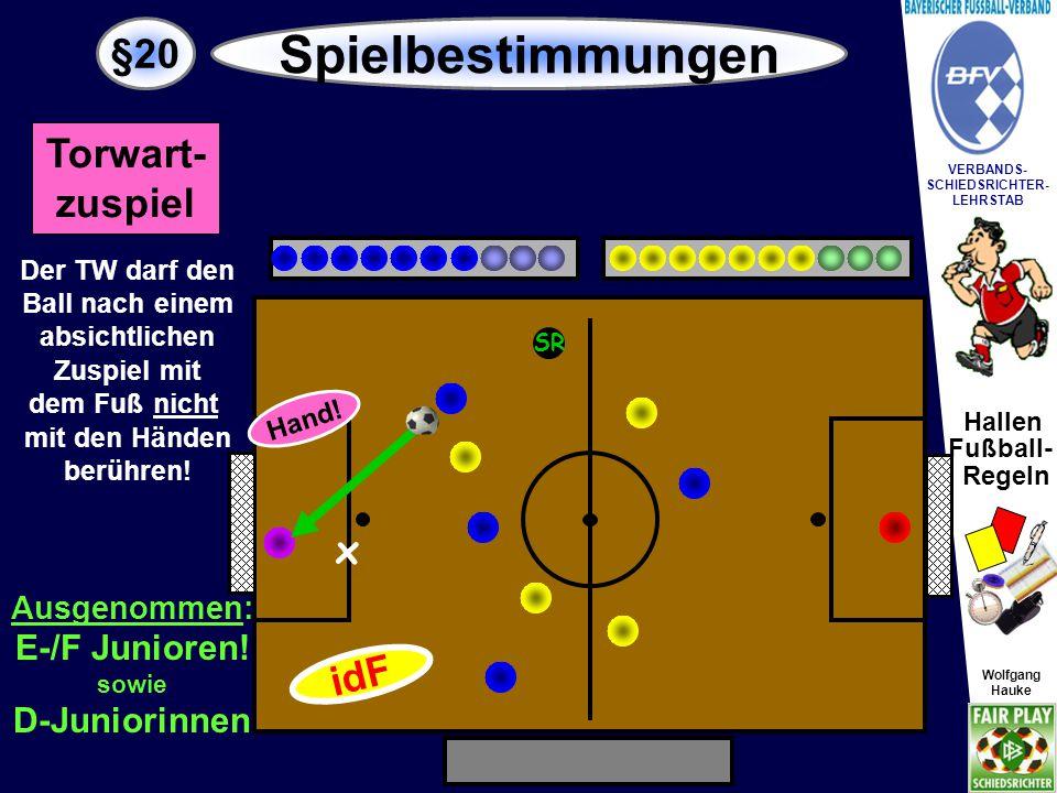 Spielbestimmungen §20 Torwart- zuspiel x idF E-/F Junioren!