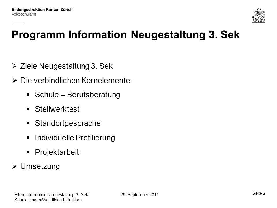 Programm Information Neugestaltung 3. Sek