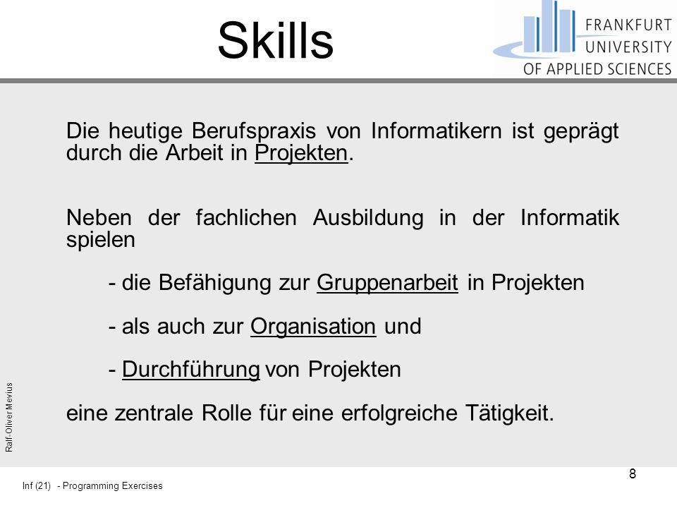 Skills Die heutige Berufspraxis von Informatikern ist geprägt durch die Arbeit in Projekten.