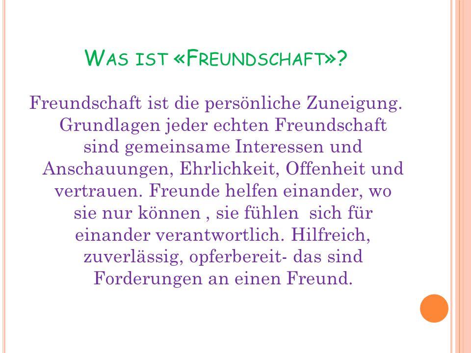 Was ist «Freundschaft»