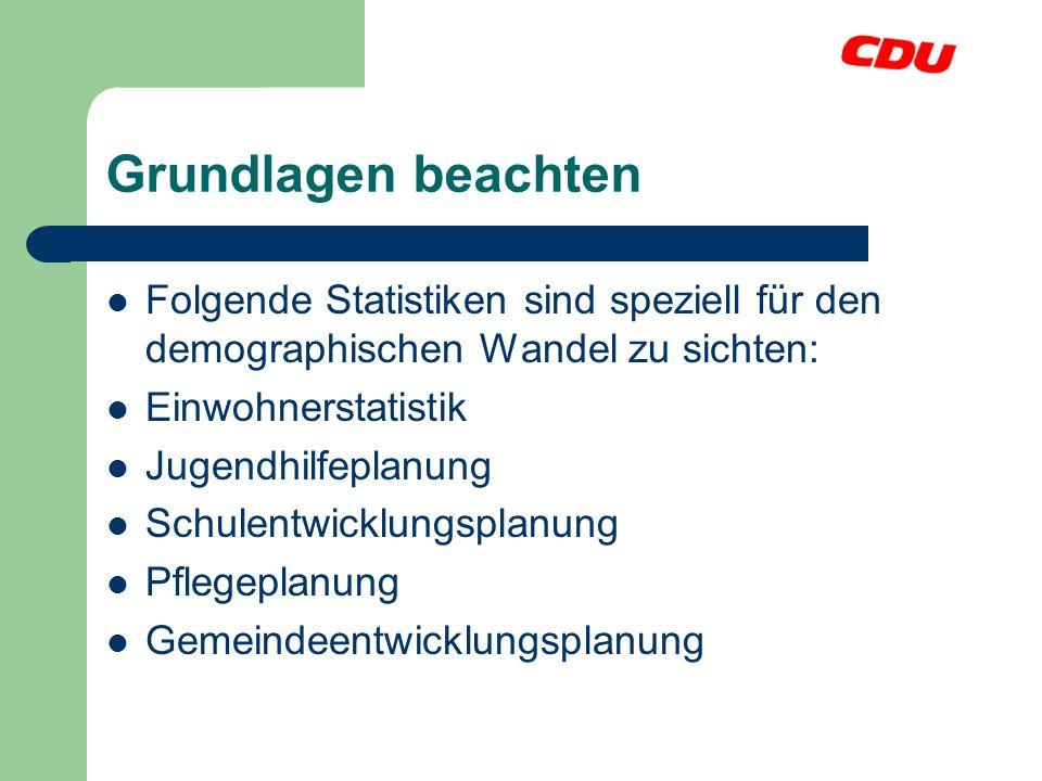 Grundlagen beachten Folgende Statistiken sind speziell für den demographischen Wandel zu sichten: Einwohnerstatistik.