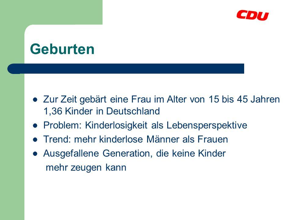 Geburten Zur Zeit gebärt eine Frau im Alter von 15 bis 45 Jahren 1,36 Kinder in Deutschland. Problem: Kinderlosigkeit als Lebensperspektive.