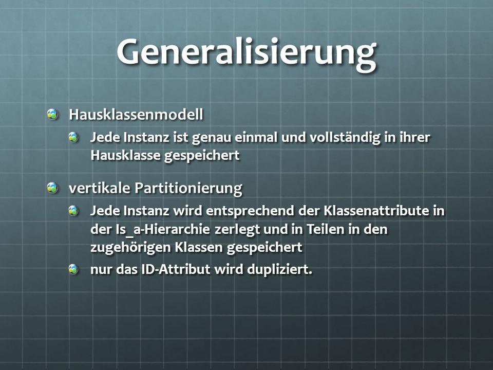 Generalisierung Hausklassenmodell vertikale Partitionierung