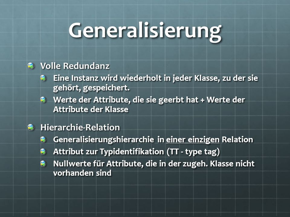 Generalisierung Volle Redundanz Hierarchie-Relation