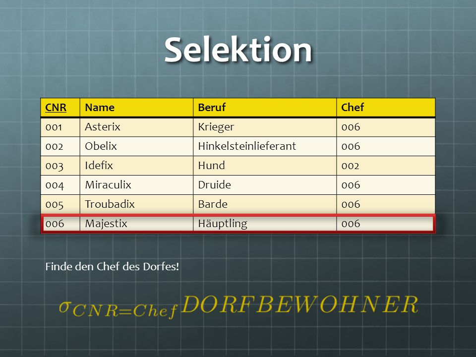 Selektion CNR Name Beruf Chef 001 Asterix Krieger 006 002 Obelix