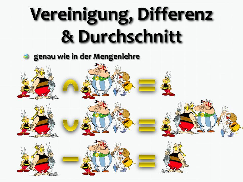 Vereinigung, Differenz & Durchschnitt