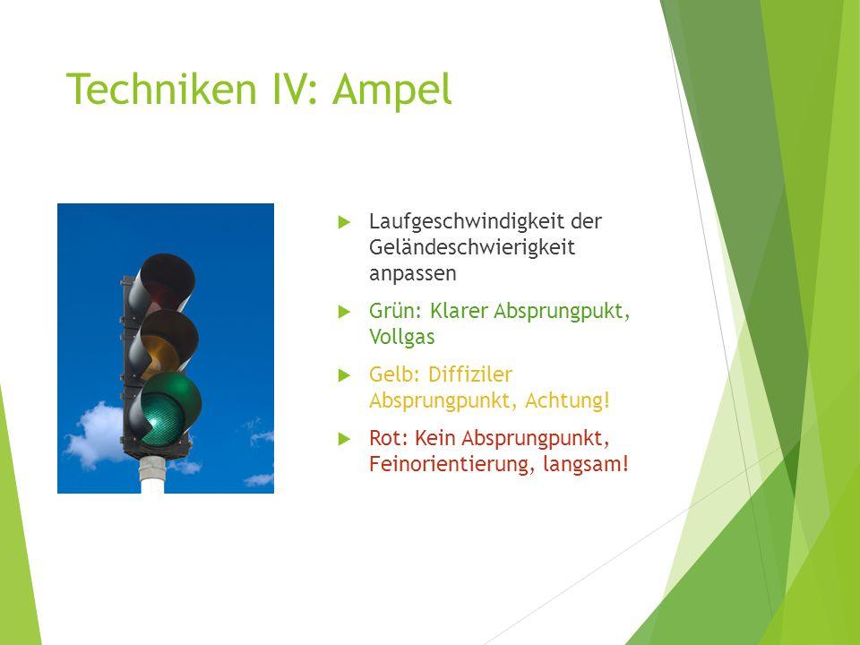 Techniken IV: Ampel Laufgeschwindigkeit der Geländeschwierigkeit anpassen. Grün: Klarer Absprungpukt, Vollgas.