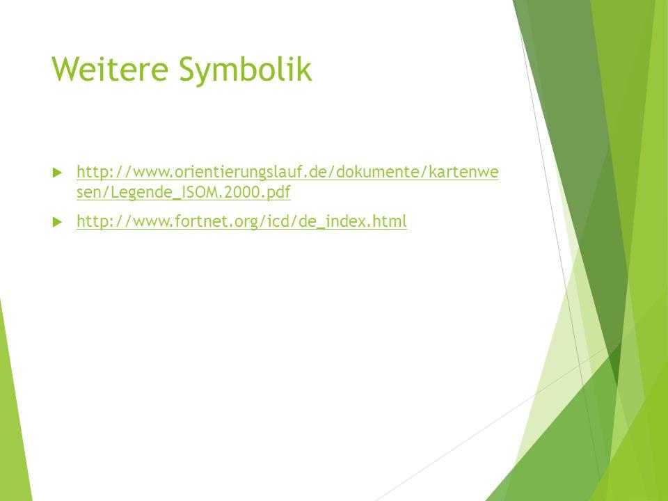Weitere Symbolik http://www.orientierungslauf.de/dokumente/kartenwe sen/Legende_ISOM.2000.pdf.