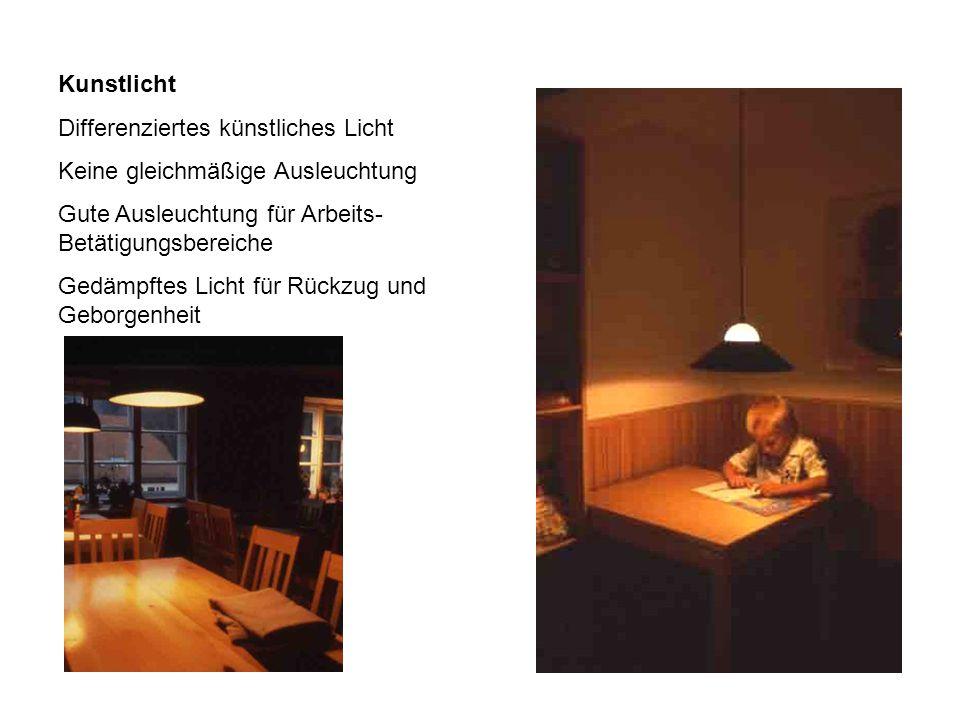 Kunstlicht Differenziertes künstliches Licht. Keine gleichmäßige Ausleuchtung. Gute Ausleuchtung für Arbeits- Betätigungsbereiche.