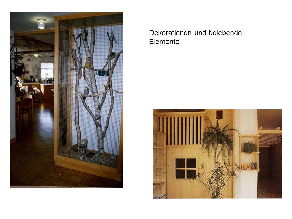 Dekorationen und belebende Elemente
