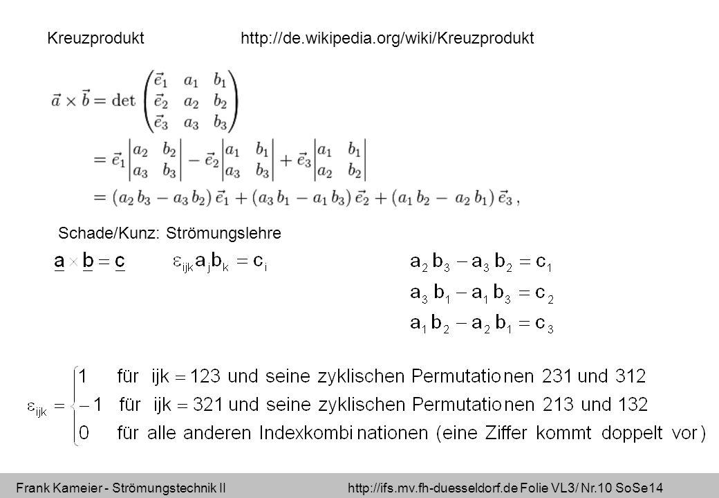 Kreuzprodukt http://de.wikipedia.org/wiki/Kreuzprodukt Schade/Kunz: Strömungslehre